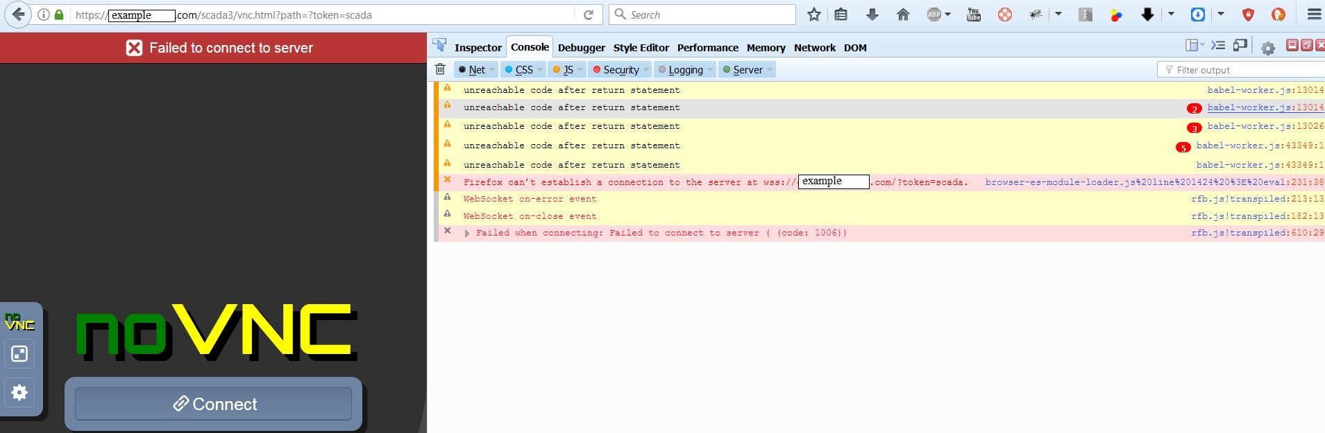 Websocket token list doesn't play well with reverse proxy