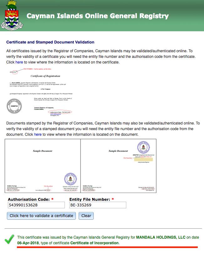 mandala-cayman-verification