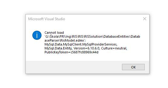 Visual Studio 2017 Generation error: Could not load file or assembly