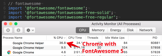 FontAwesome 5 causes high CPU utilization in browser · Issue