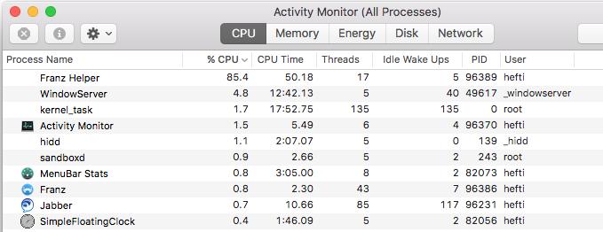 Franz helper 84% CPU · Issue #31 · meetfranz/franz · GitHub