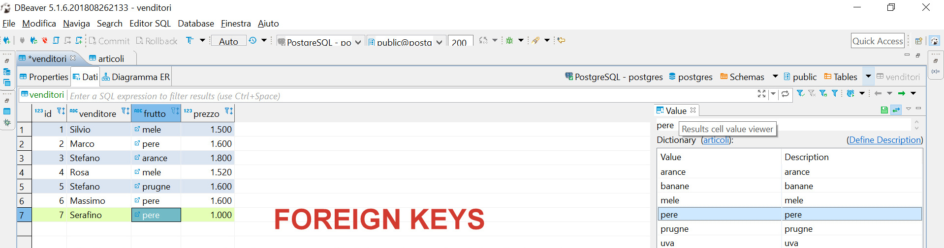 Foreign keys: drop-down menu to select correct values (feature