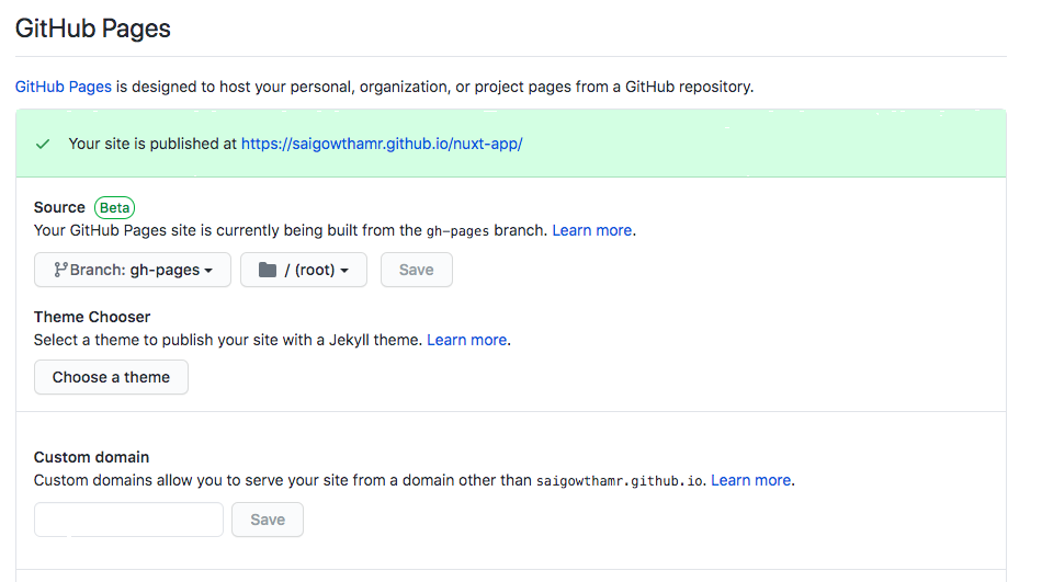 nuxt app deploy url GitHub pages