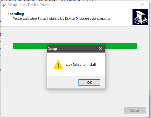 vJoy failed to install - Can't install driver - Windows 10