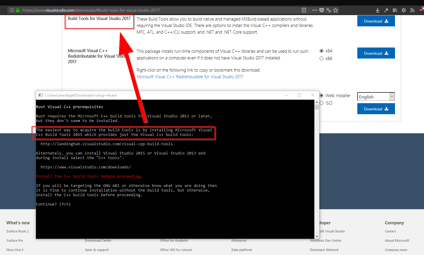 Windows] rustup-init exe's on-screen instructions could be