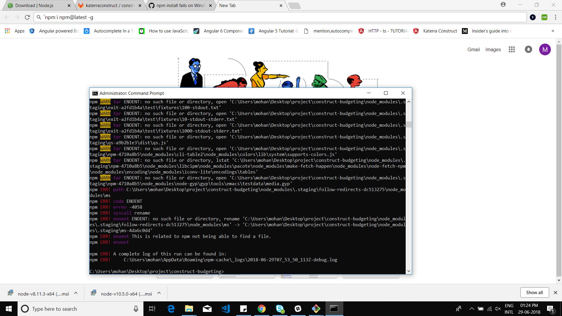npm is throwing error- npm ERR! code ENOENT