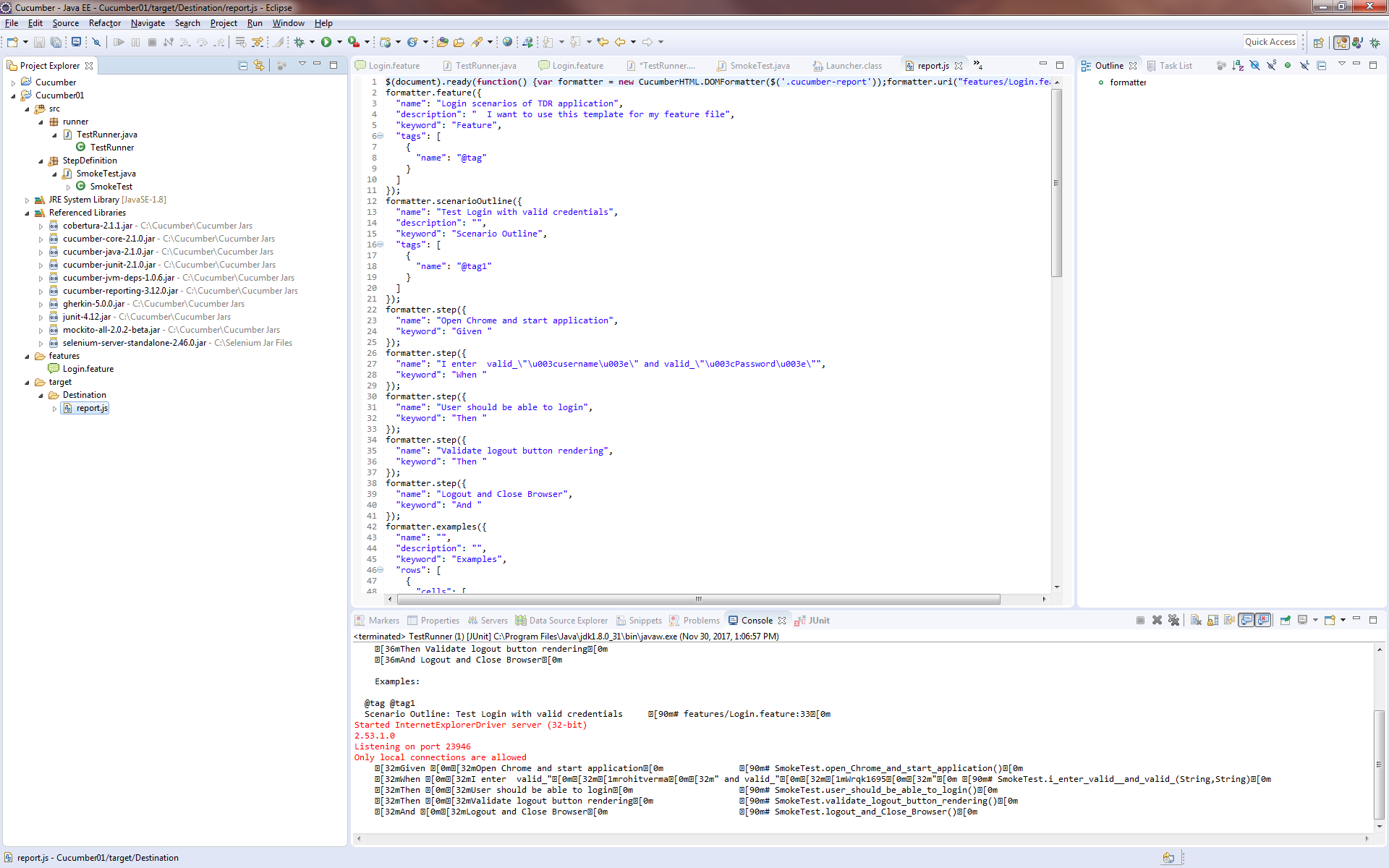 Could not generate test report because of outline examples · Issue ...