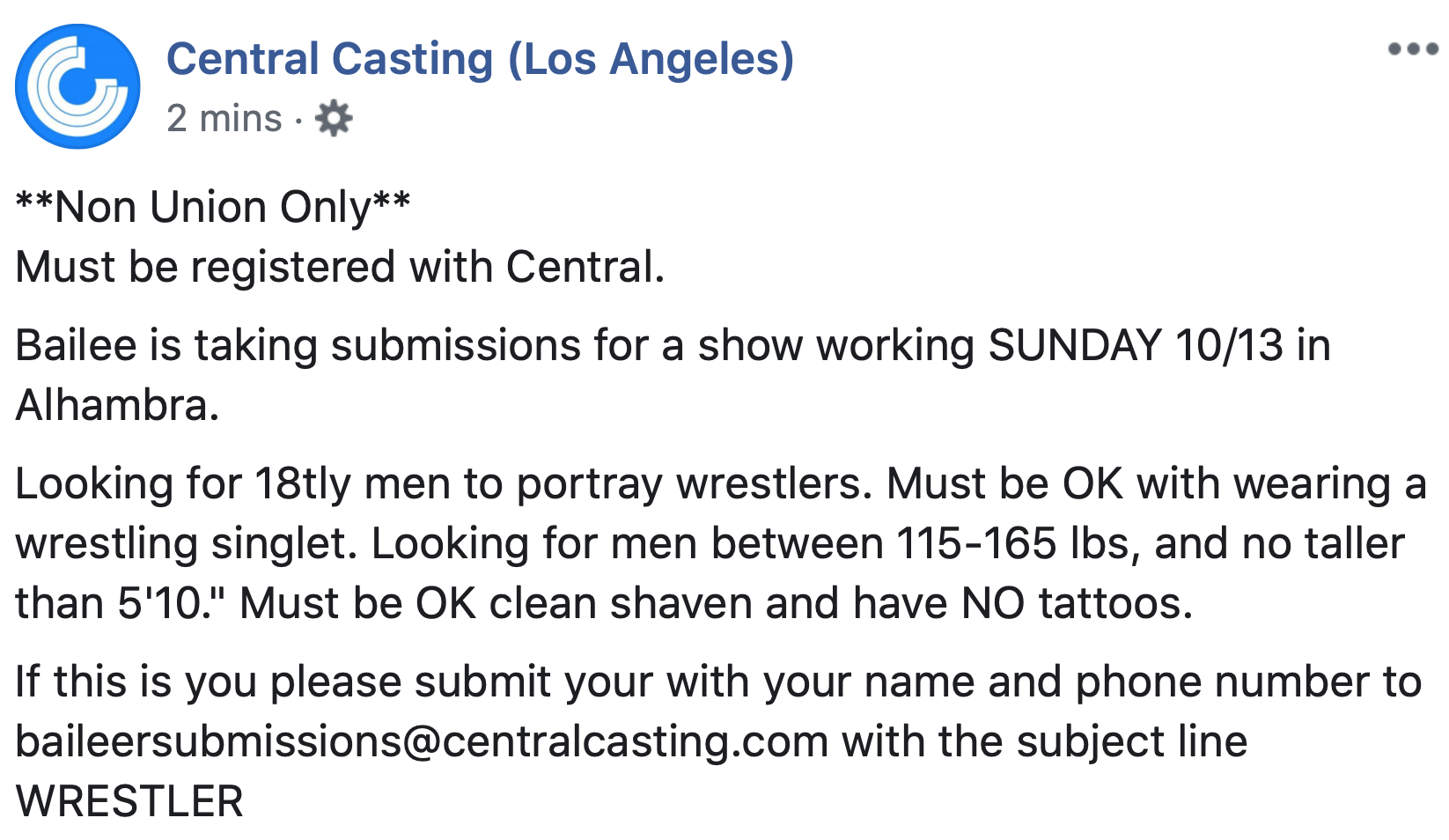 Central Casting Post