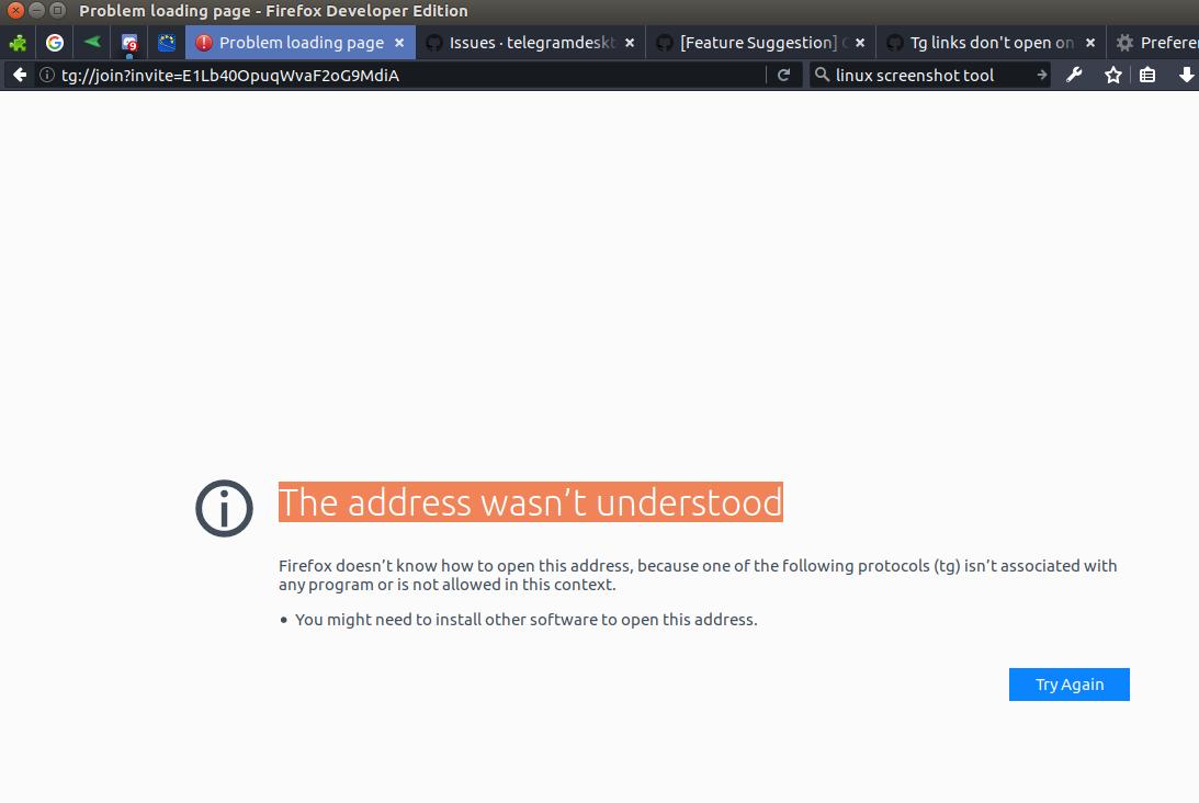Tg links don't open on Telegram (linux) · Issue #3674
