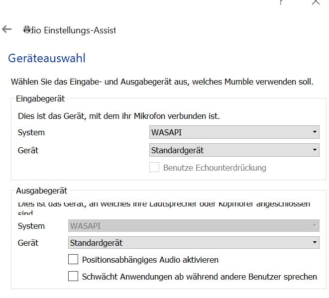Windows 10 und BT Headset -> No Sounds outside of Mumble