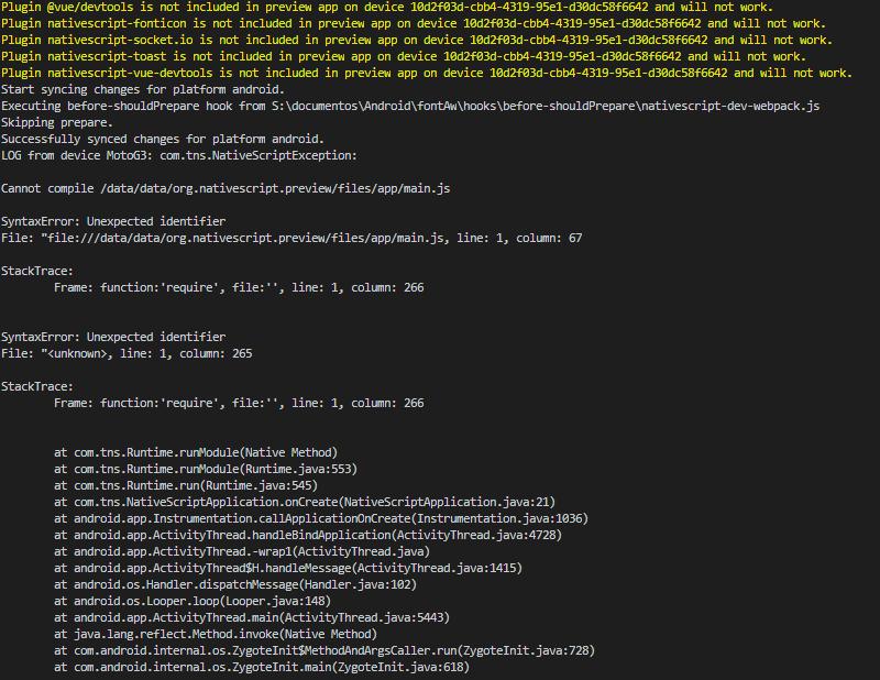 tns preview not working · Issue #375 · nativescript-vue