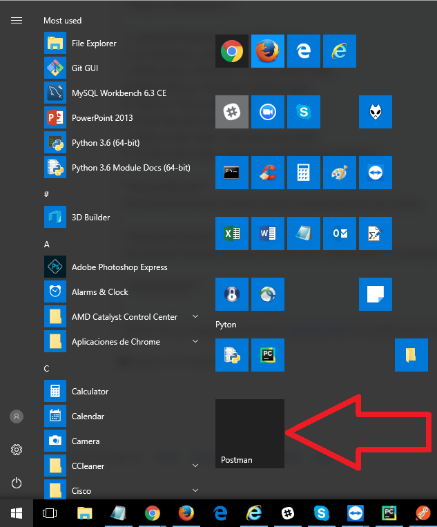 Postman app shortcut pinned on start menu on Windows 10 hasn