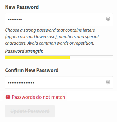 Add JS validation when passwords do not match · Issue #3197