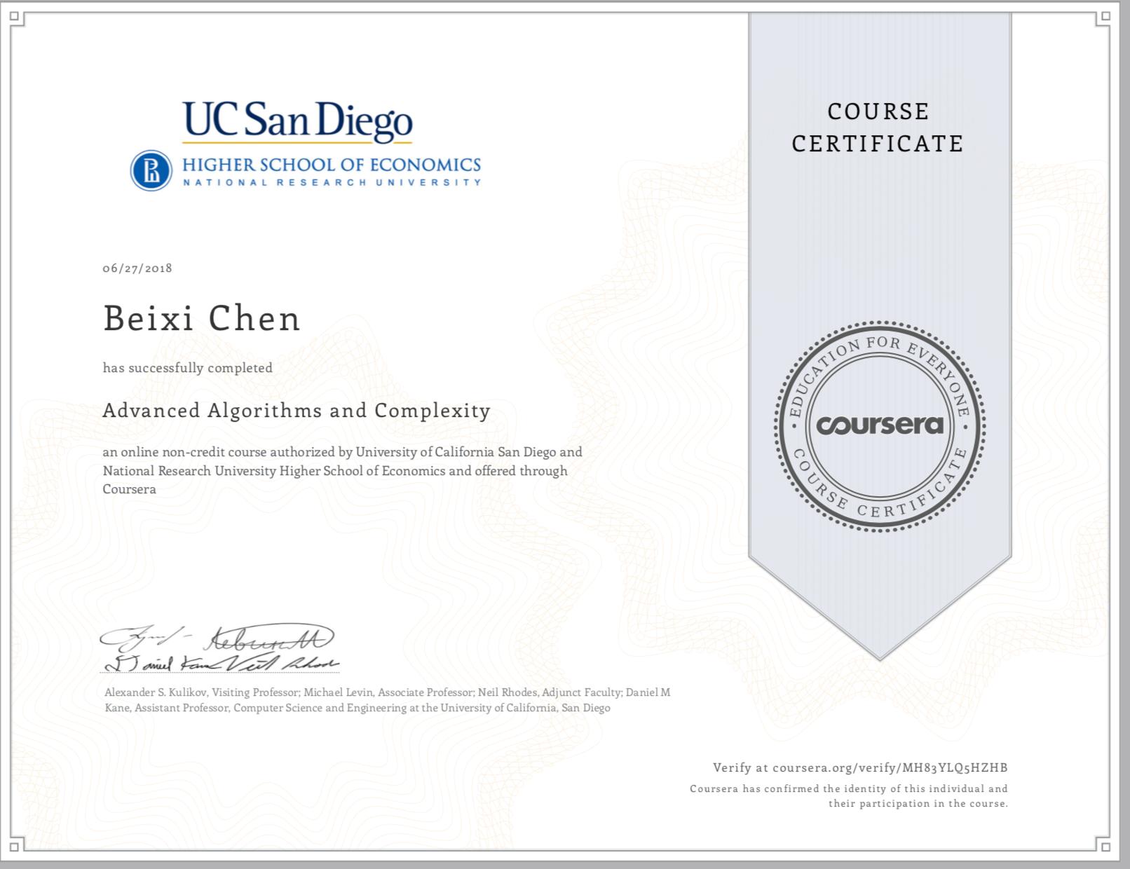 GitHub - BessieChen/Coursera-Advanced-Algorithms-and