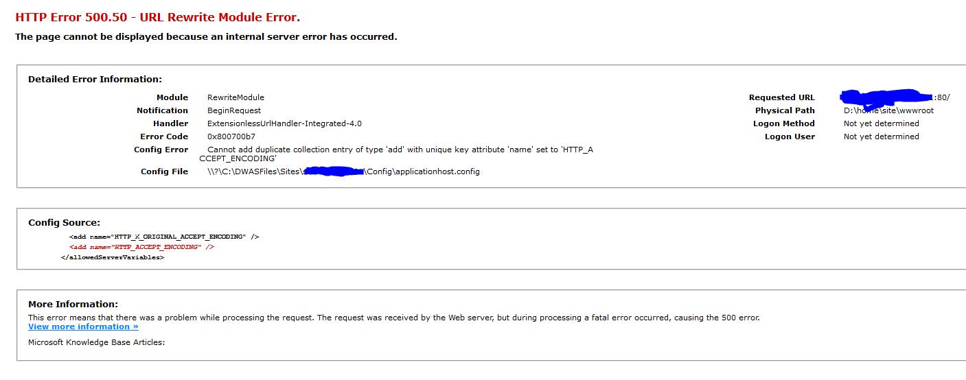 HTTP Error 500 50 - URL Rewrite Module Error · Issue #9