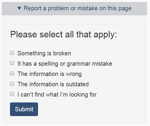 Report a problem or mistake on this page