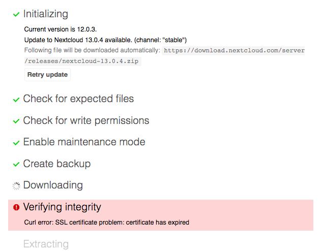 Update Not Working Curl Error Ssl Certificate Problem