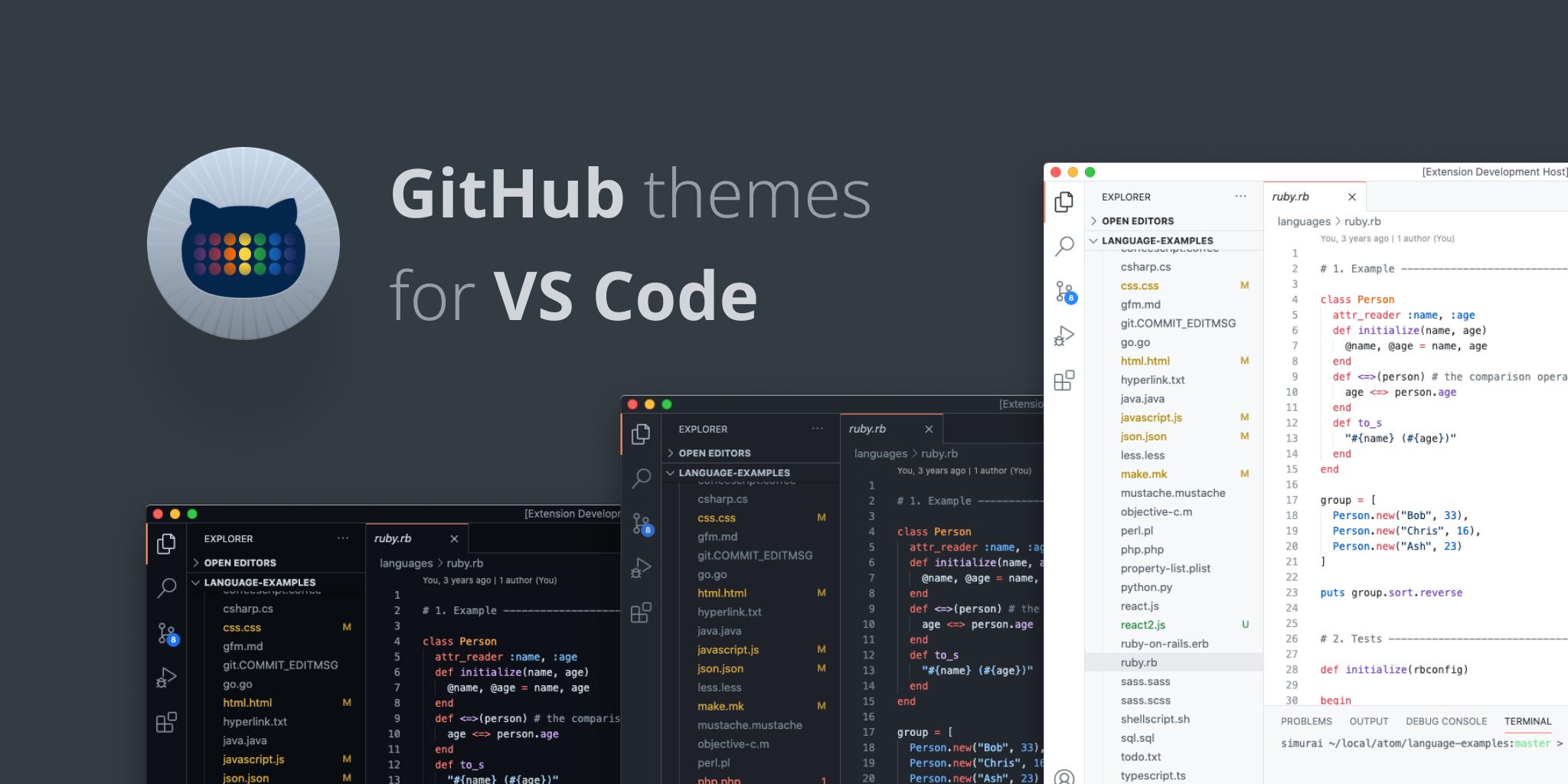 New GitHub Themes for VS Code - GitHub Changelog