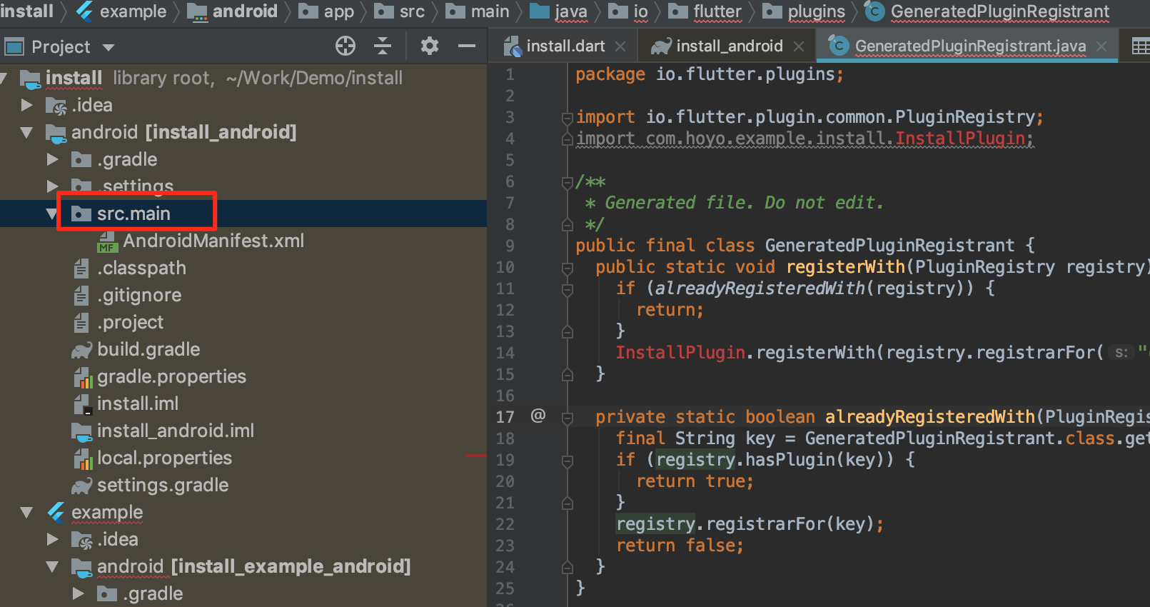 Android studio does not recognize flutter plugin java source