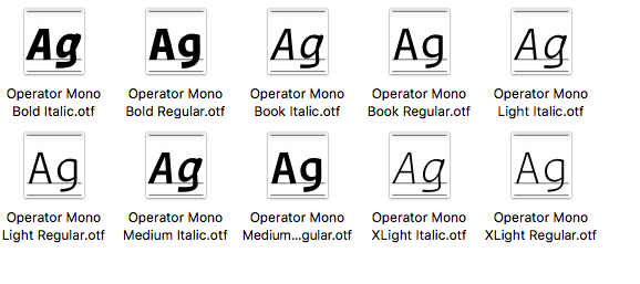 Copy your Operator Mono OpenType files into the original folder