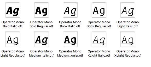 Copy your Operator Mono OpenType files into the original