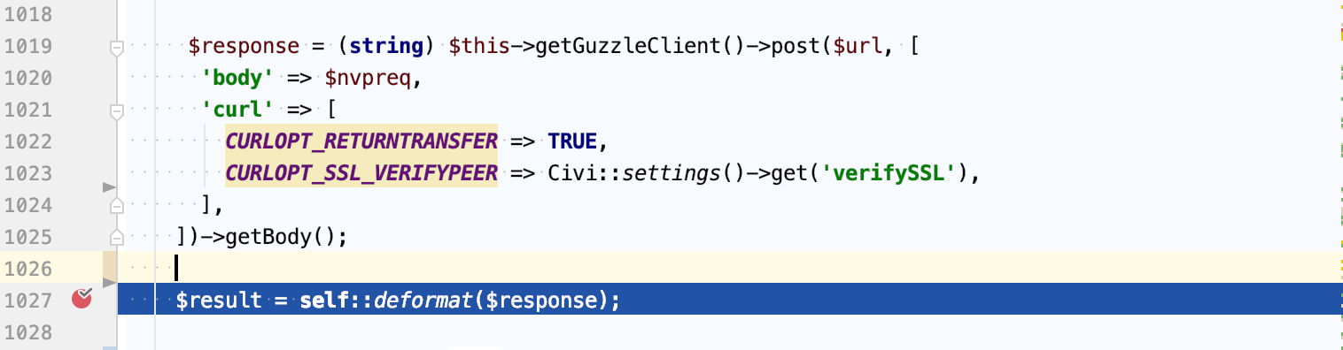 Screen Shot showing code getting response from processor site