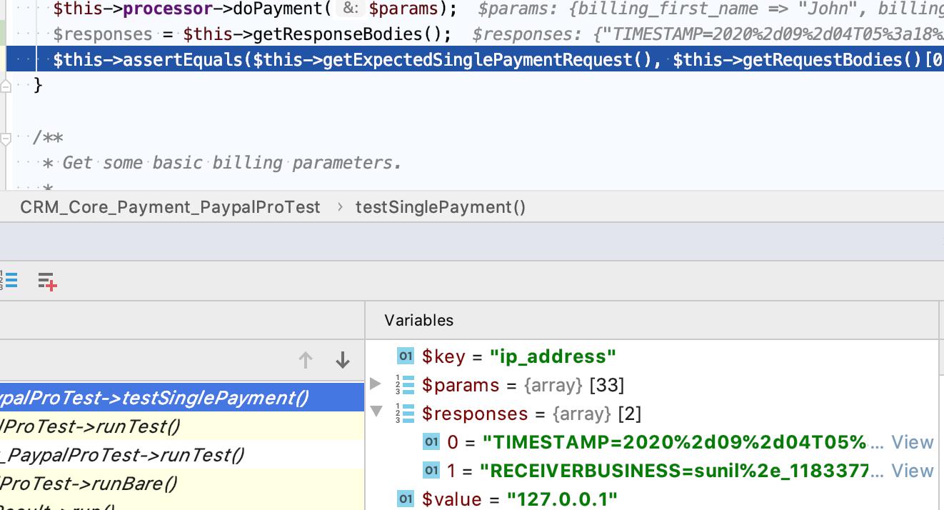 Screen Shot showing testing code