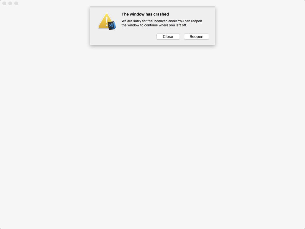 Visual Stodio Code 1 19 2 crashing on MacOS High Sierra when