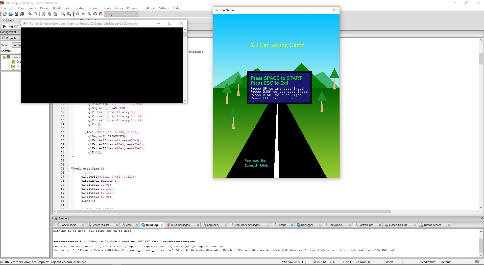 GitHub - zunaidm/2D-Car-Race-game: OpenGL and C++ 2D Car