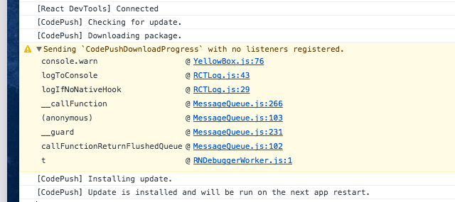 Sending `CodePushDownloadProgress` with no listeners
