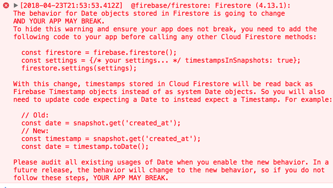 The behavior for Date objects stored in Firestore is going