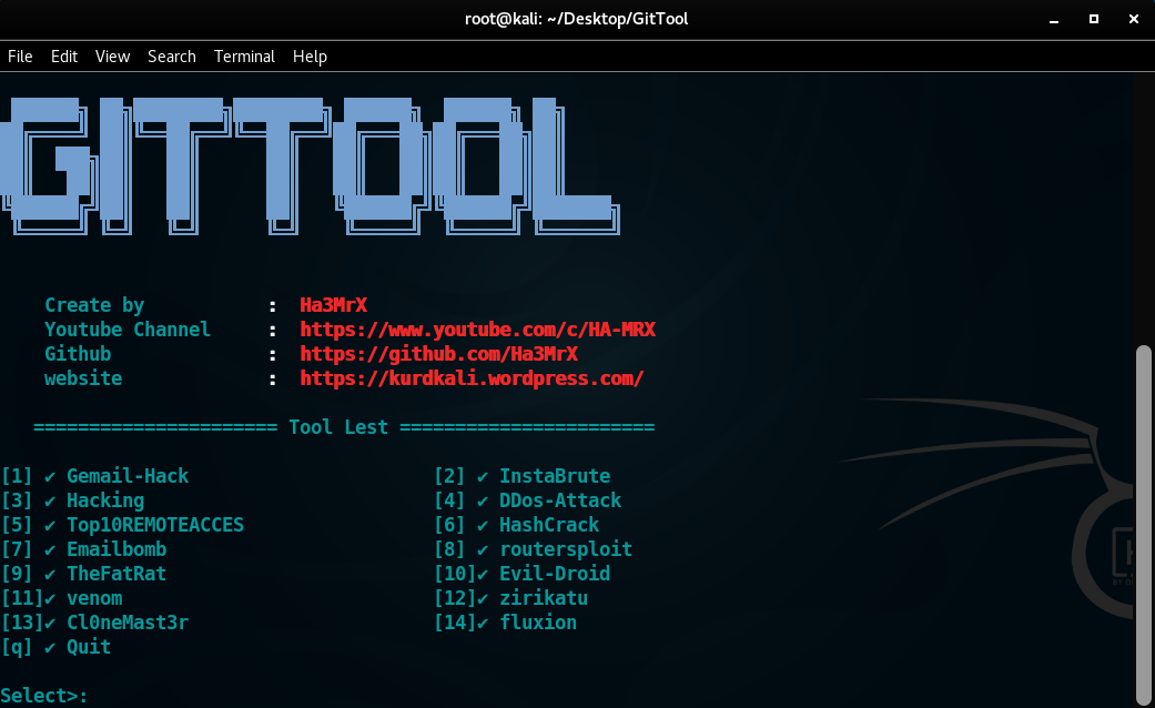 GitHub - Ha3MrX/GitTool: Git Best Tools Hacking For Kali