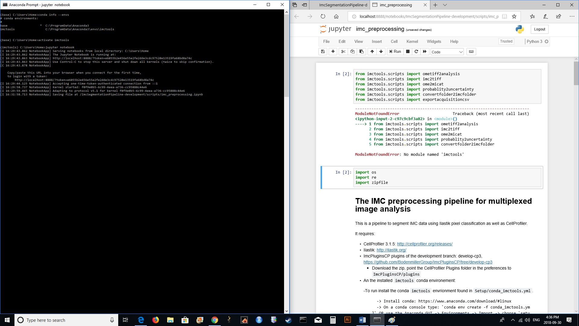 Jupyter notebook error: no module named 'imctools' · Issue #3