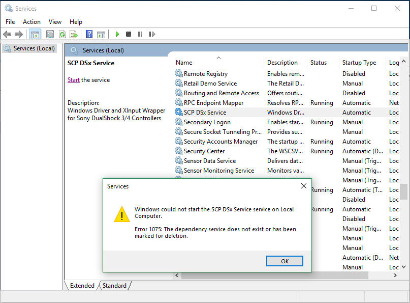 Windows could not start the SCP DSx Service service on Local