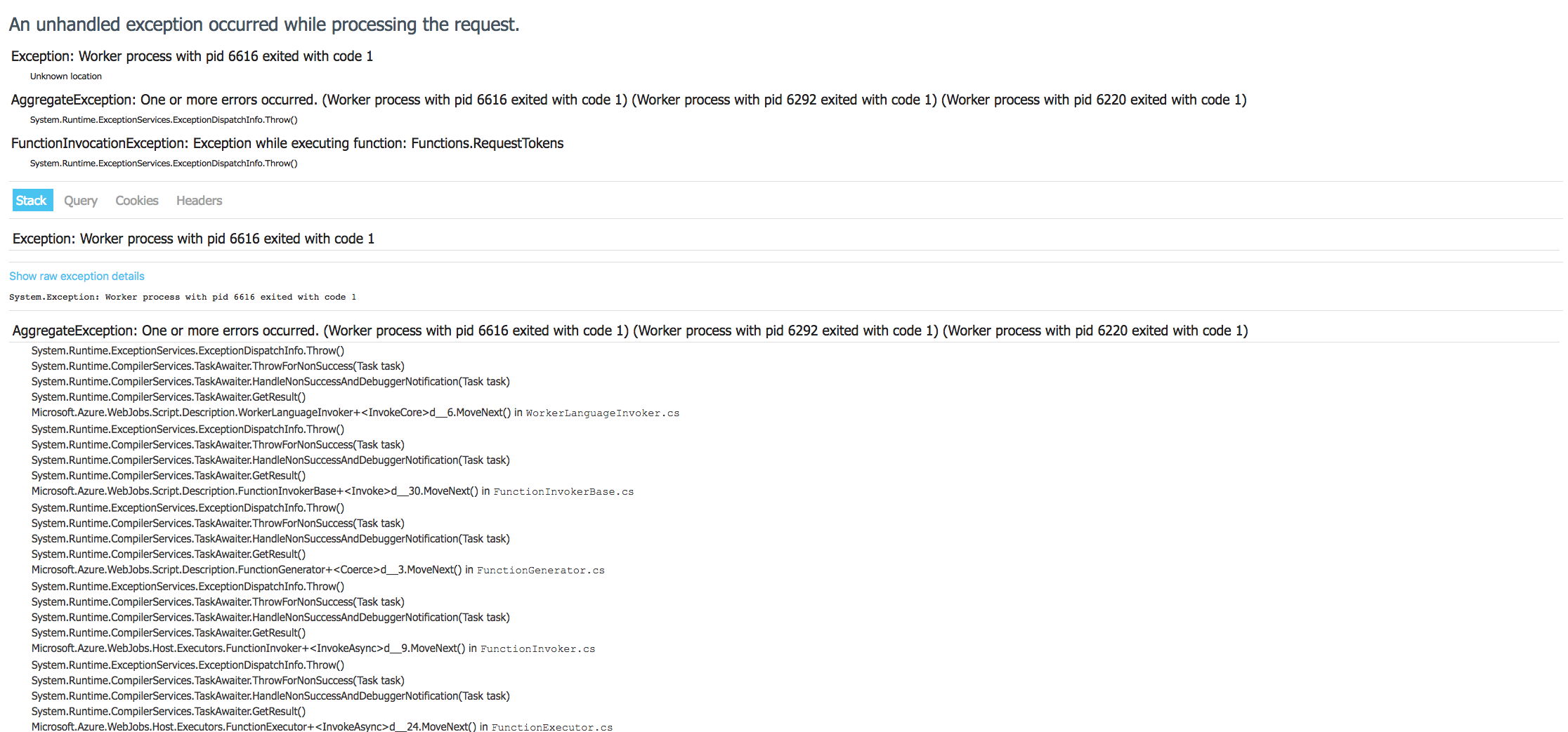 Async and Await in javascript rendering Azure 500 internal error