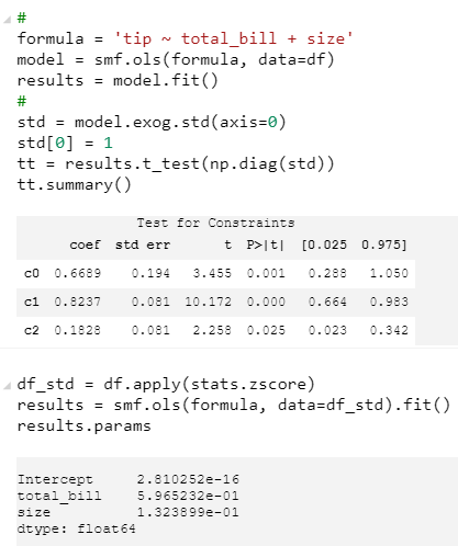 ENH: standardized coefficients - params table · Issue #3857