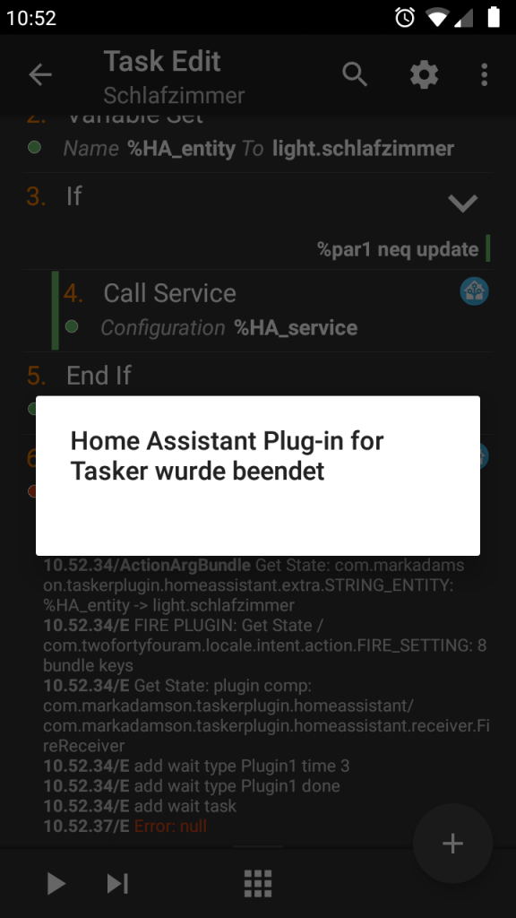 Plugin not working from within Tasker / Error:null · Issue