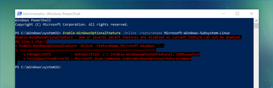 WSL install fails with errors on Windows 10 guest VM · Issue