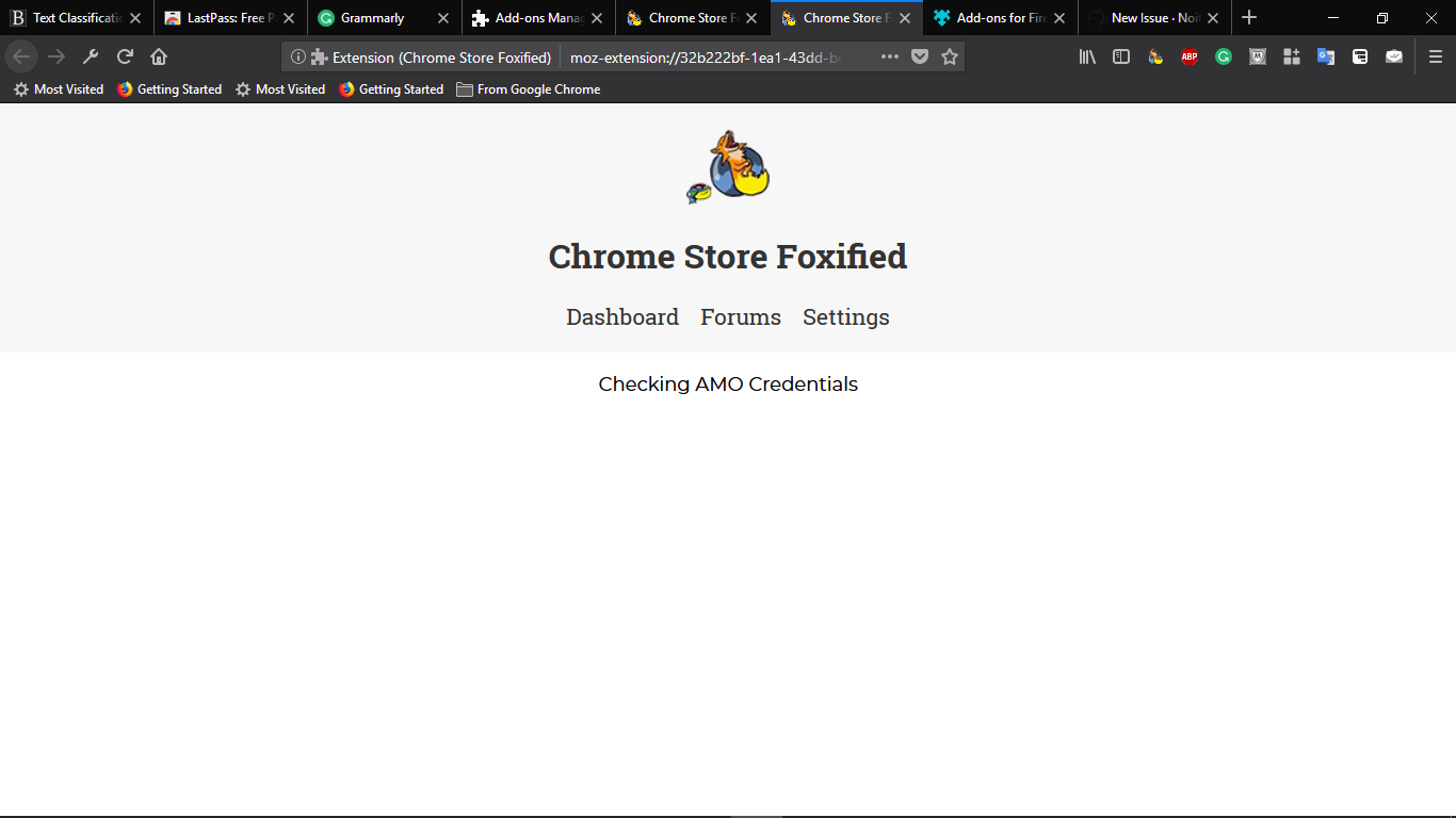 Stuck at Checking AMO Credentials in Firefox Developer