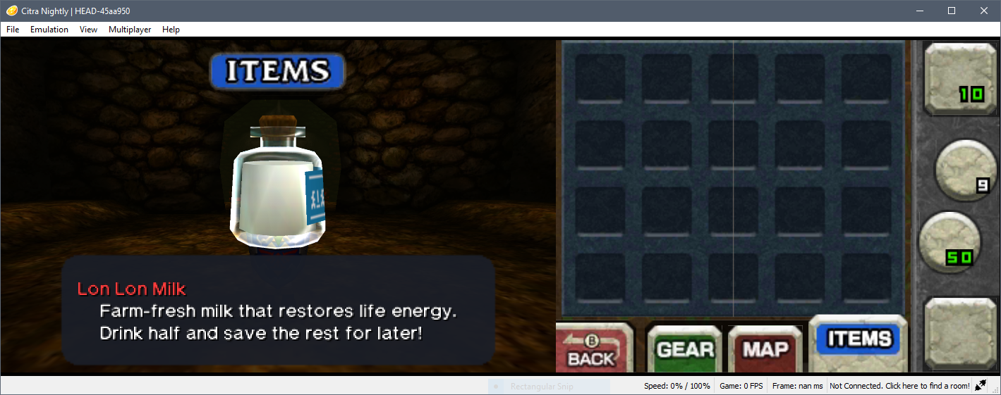 Inventory sprites not rendering (Legend of Zelda: Ocarina of Time 3D