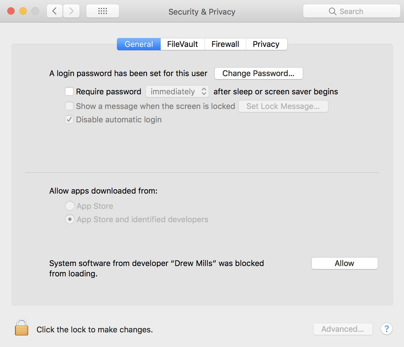 Security and Privacy panel in the macOS System Preferences