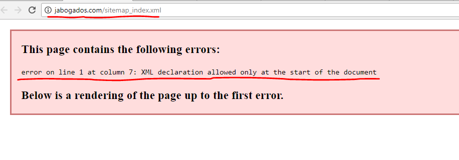 error on line 1 at column 7 xml declaration allowed only at the