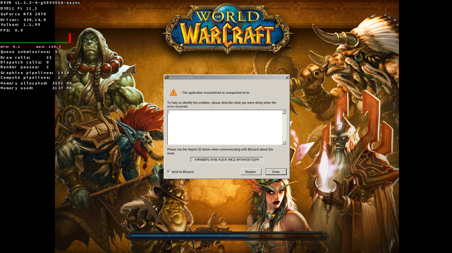 World of Warcraft crashes with Error 132 (Access Violation) · Issue