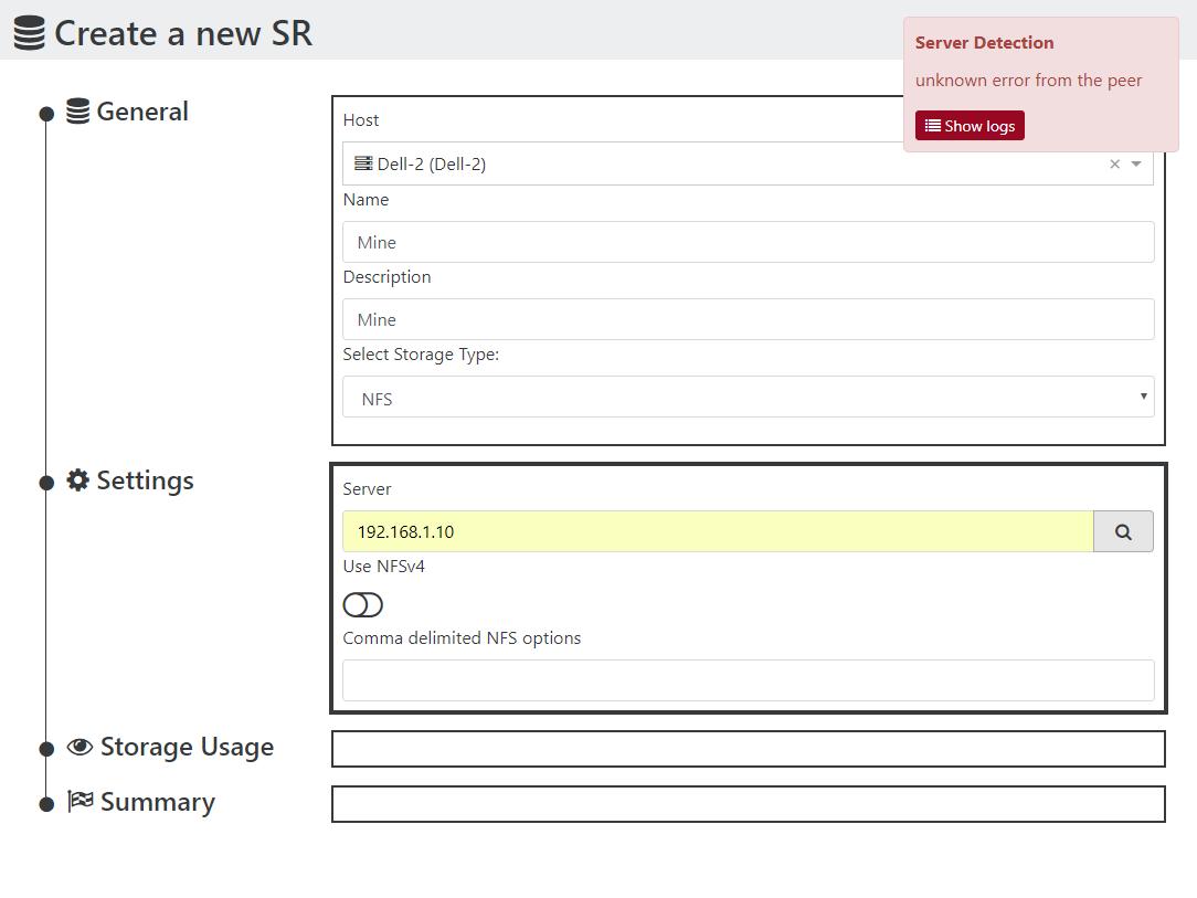 Can't create ISO NFS SR via XOA · Issue #1845 · vatesfr/xen
