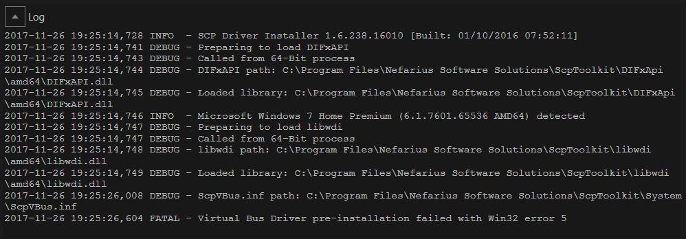 Virtual Bus Driver pre-installation failed with Win32 error