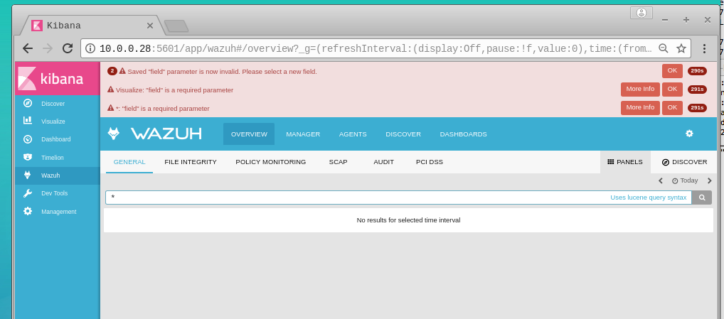 Wazuh Kibana dashboard empty with errors · Issue #96 · wazuh/wazuh