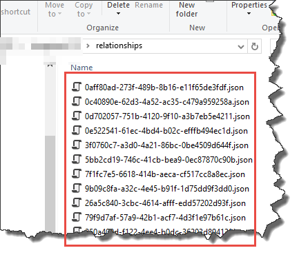 When saving a model to a folder structure give relationships files a