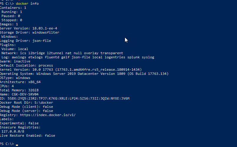 Windows Server 2019 Container (At least 3Gb memory needs to