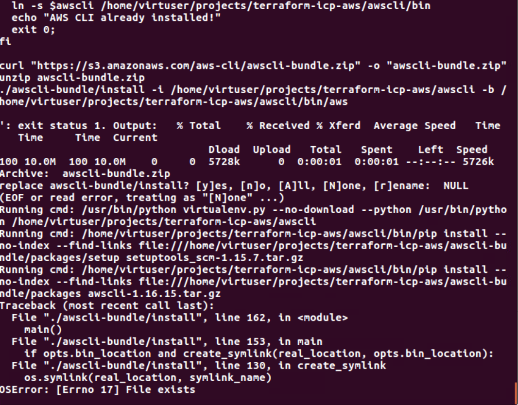 Terraform failed on Ubuntu system without AWS CLI already installed