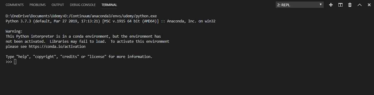 Conda - the environment has not been activated messages